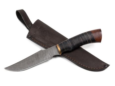 Нож Багира  (дамаск, рукоять кожа)