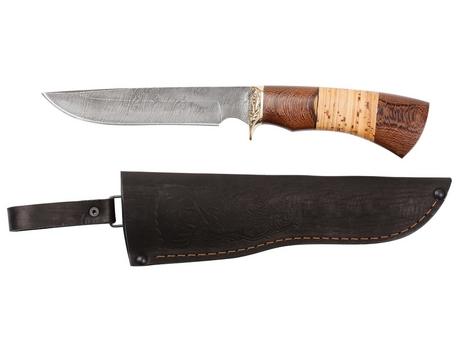 Нож Юрга  (дамаск, рукоять венге, береста)