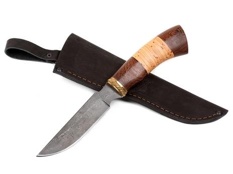 Нож Ястреб (дамаск, рукоять венге, береста)