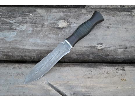 Нож Варвар (дамаск, рукоять кожа, граб)
