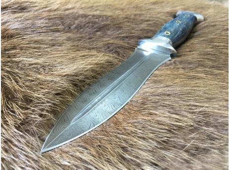 Нож Варвар (дамасская сталь, рукоять стабилизированная карельская береза)