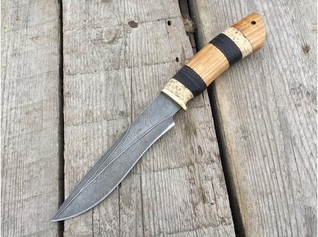 Нож Гепард  (дамаск, рукоять кожа, дуб)