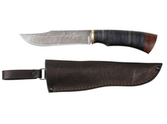 Нож Тигр  (дамаск, рукоять кожа)