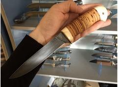 Нож Витязь  (сталь ХВ5, рукоять кость, береста)