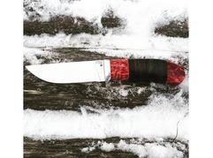 Нож Егерь (Х12МФ, рукоять кожа, стабилизированная карельская береза)