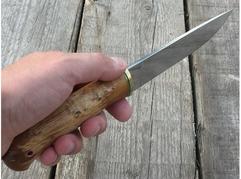 Нож Лиса (elmax, рукоять стабилизированная карельская береза)