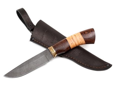 Нож Лиса (дамаск, рукоять венге, береста)