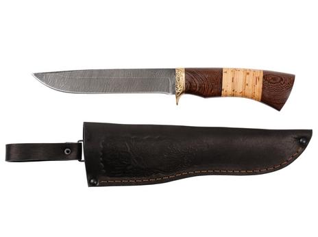 Нож Рысь (дамаск, рукоять венге, береста)
