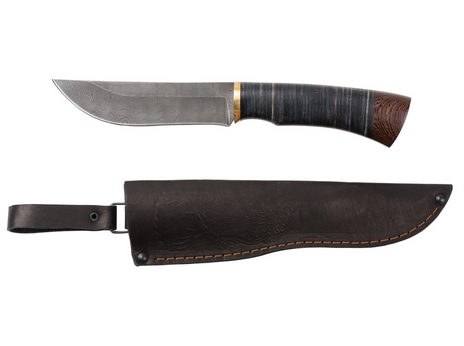 Нож Кабан (дамаск, рукоять кожа, венге)
