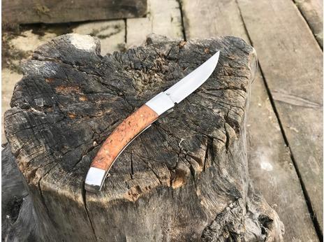 Складной нож Лиса (сталь Elmax, стабилизированная карельская береза)