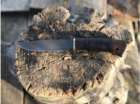 Нож Лиса (дамаск, рукоять венге, кожа)