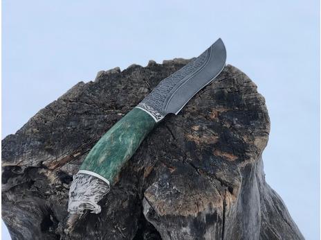 Нож Бухарский(дамаск, рукоять стабилизированная карельская береза)