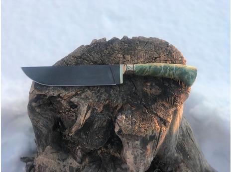 Нож Бахарман (дамасская сталь, рукоять стабилизированный кап клена)