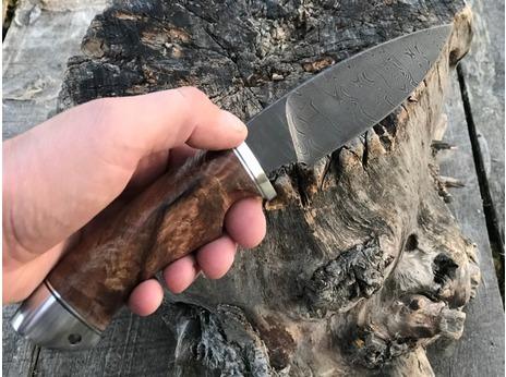 Нож Соболь (дамаск, рукоять стабилизированный дуб)