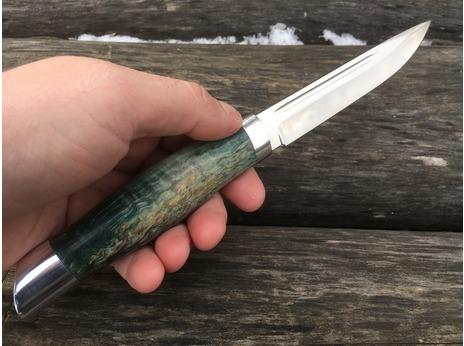 Нож Норвежский  ( сталь S390, рукоять стабилизированная карельская береза)
