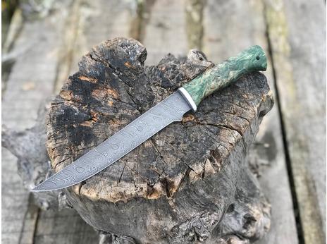 Нож Ягуар  (дамасская сталь, рукоять стабилизированная карельская береза)