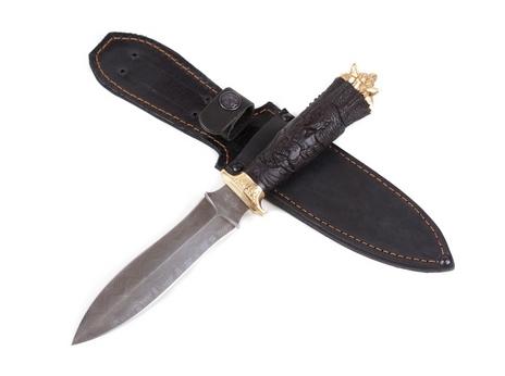 Нож Ведьмак (дамаск, рукоять черное дерево, латунь)
