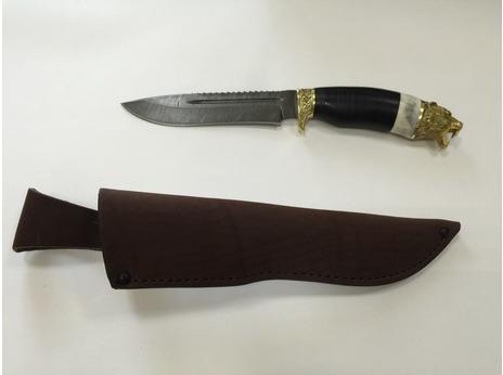 Нож Гепард  (дамаск, рукоять кожа, кость)