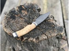 Нож Соболь (дамаск, рукоять стабилизированная карельская береза)