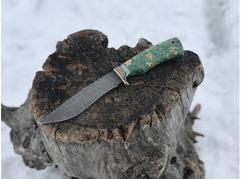 Нож Лиса (дамасская сталь, рукоять стабилизированный кап клена)