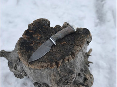 Нож Соболь (дамаск, рукоять стабилизированный ясень)