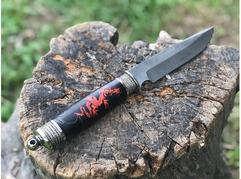 Нож Витязь (дамаск, стабилизированная карельская береза, акрил с инкрустацией)