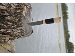 Нож Якутский (дамаск, рукоять карельская береза, граб)