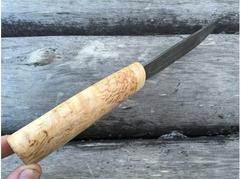 Нож Якутский (дамаск, рукоять карельская береза)